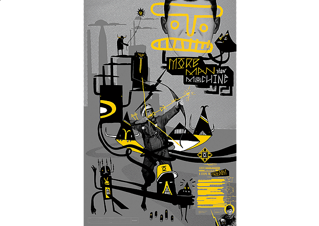 More Man Than Machine | Poster Design by M80 Design, Portland OR - Large