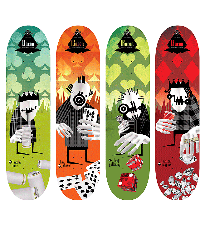 Outsiders - Bacon Skateboards | Design by  M80 Branding, Portland OR - Large